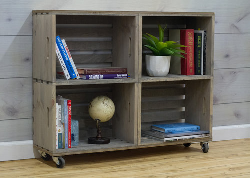 DIY bookcase made from four crates stacked together
