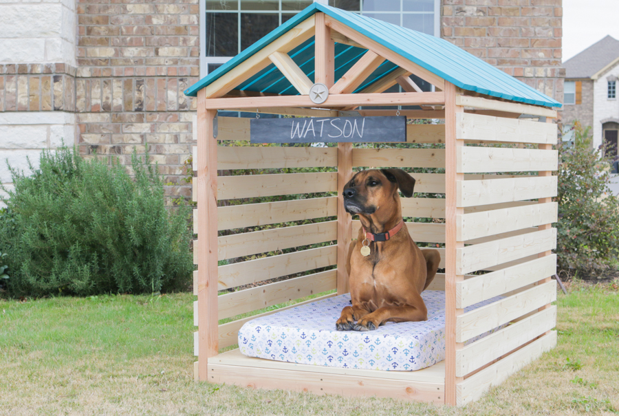 a breezy wooden garden shelter made for a dog, known as a dogzebo
