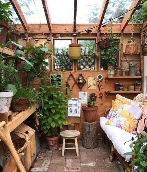 a busy potting shed, filled with plants, a work bench and a cosy sofa