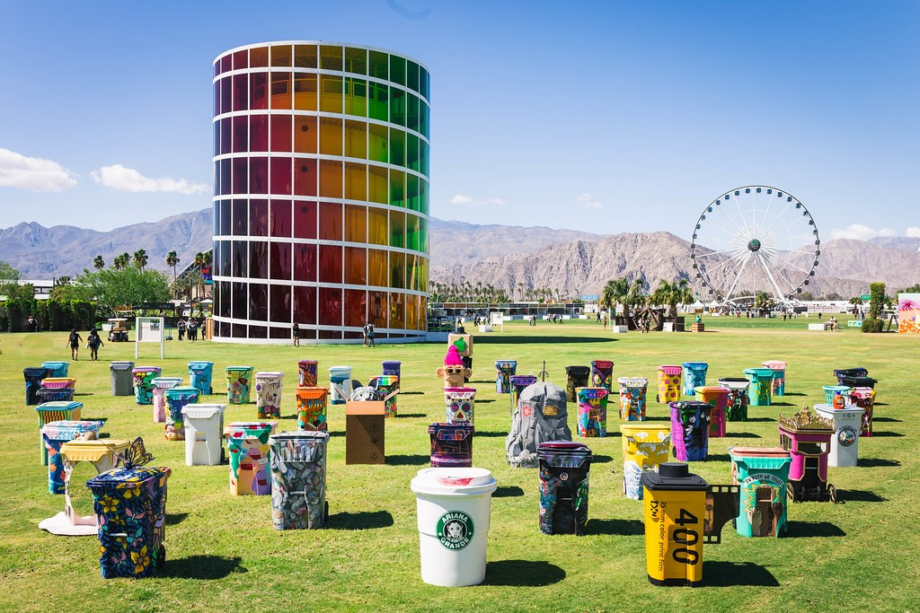a collection of 50 wheelie bins all painted for the Coachella festival TRASHED project
