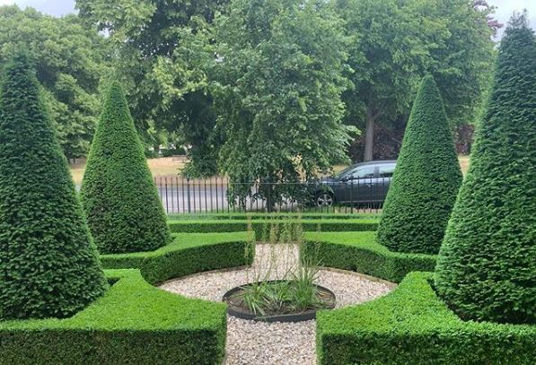 a front garden with an intersection of gravel paths through tall conical topiary trees