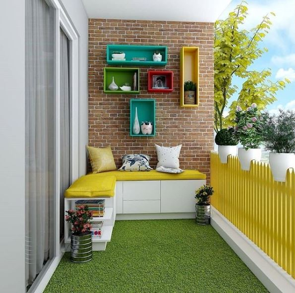 a fun balcony with bright yellow fencing, a contemporary white bench seat and artificial grass on the floor