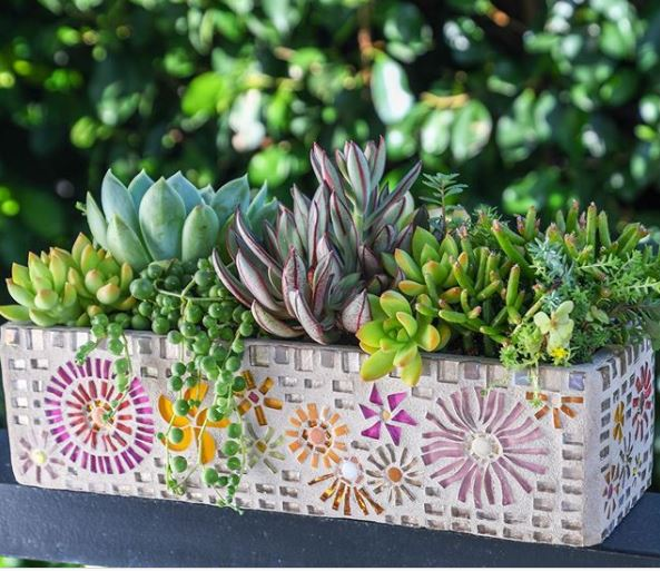 a pretty planter with pink and orange mosaic tiles