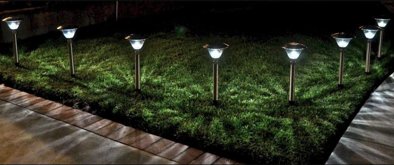 a row of solar lawn lights staked into the ground next to a concrete path