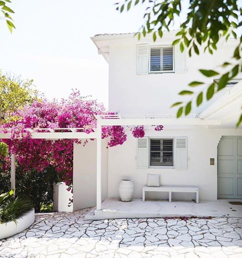 a whitewashed house with a completely white patio and pergola. Growing around the pergola is a bourgainvillea with striking pink flowers
