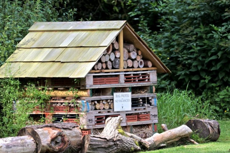 a huge garden insect habitat made from old pallets and garden materials