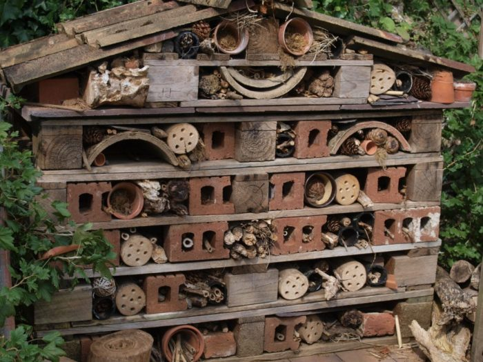 a large garden insect house, with objects arranged to resemble a smiley face
