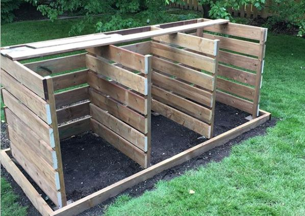 open compost bin with three sections