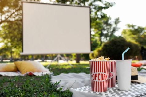 garden cinema ideas with popcorn and blankets