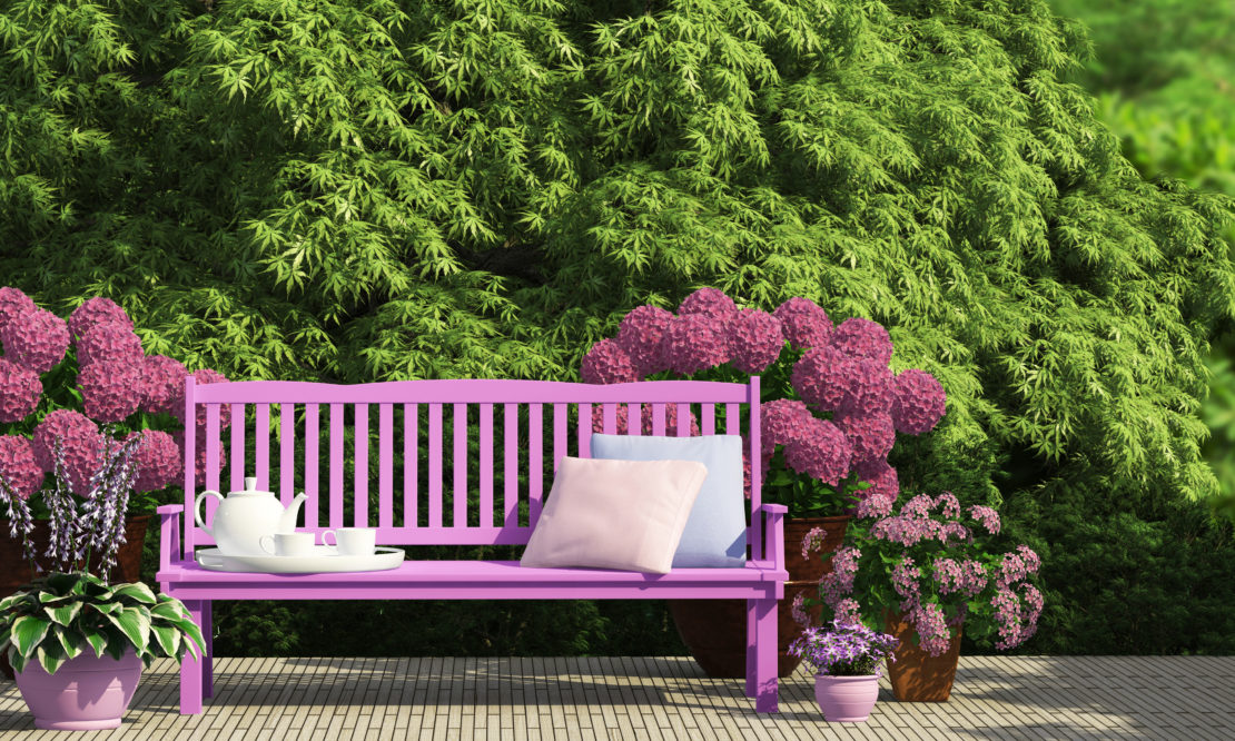 a bench painted in a bright shade of fuschia sits on a patio in front of a hedge