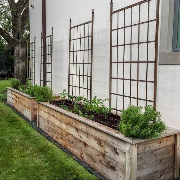 trellises in large planters, big enough to use as benches