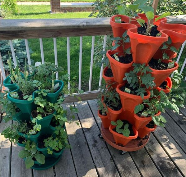 two vertical planters on a deck, filled with herbs and small vegetables