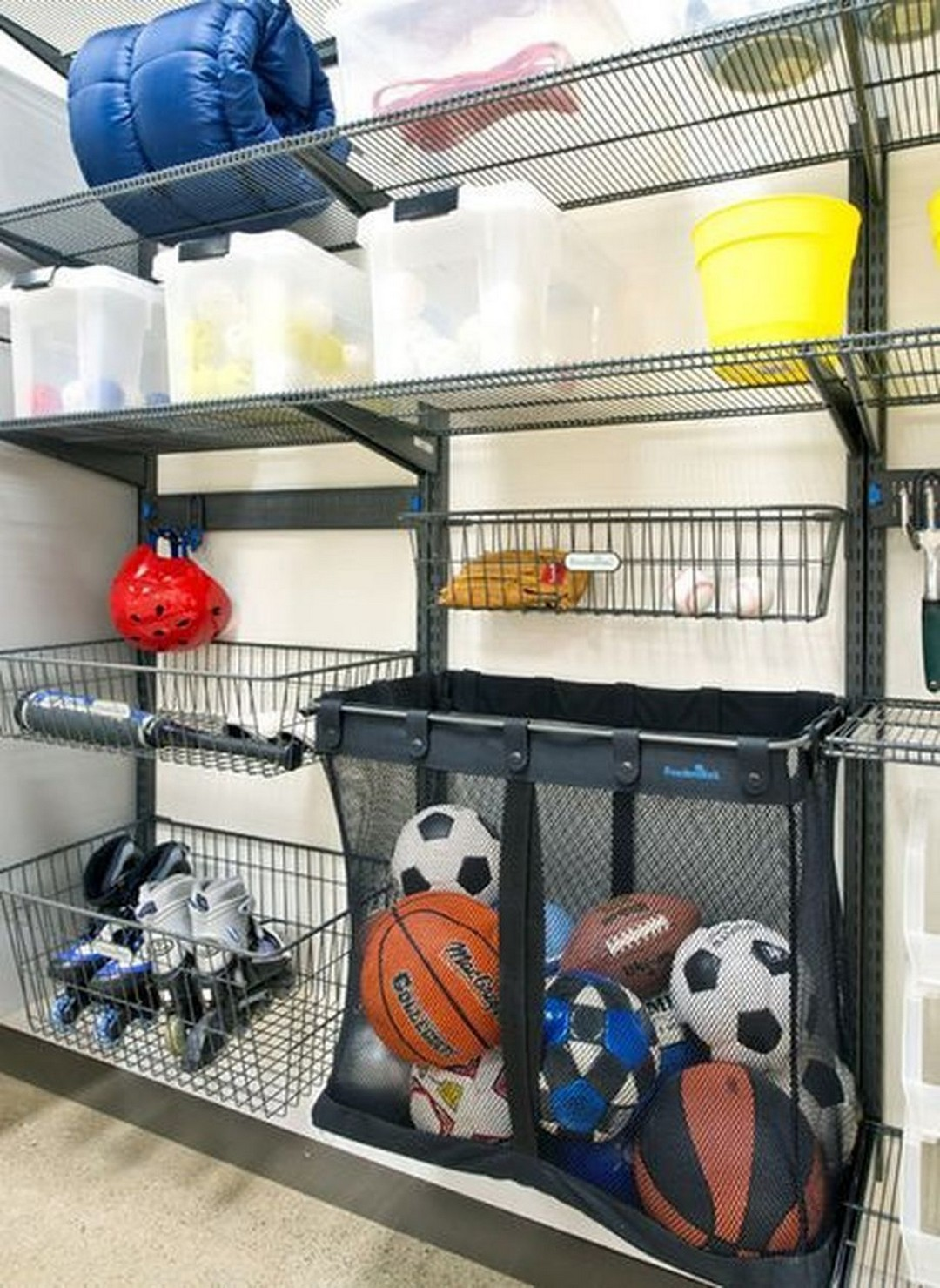 wire shelves and a huge mesh bag on a rack, attached to a garage wall