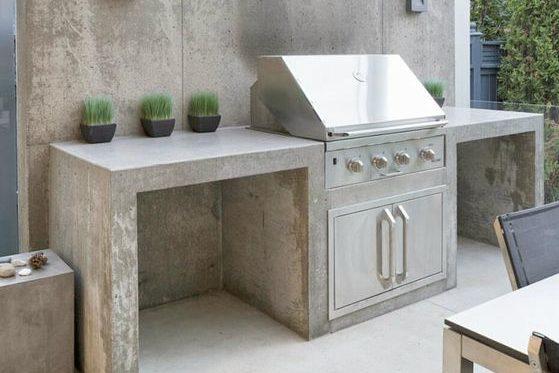 Concrete outdoor kitchen on a patio