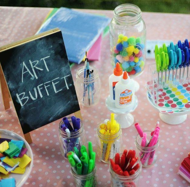 kids garden party ideas art buffet crafting table