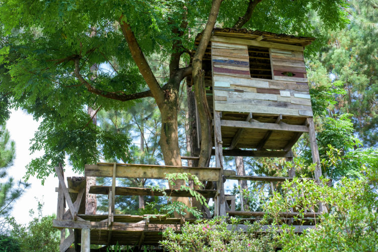 garden treehouse ideas with two levels