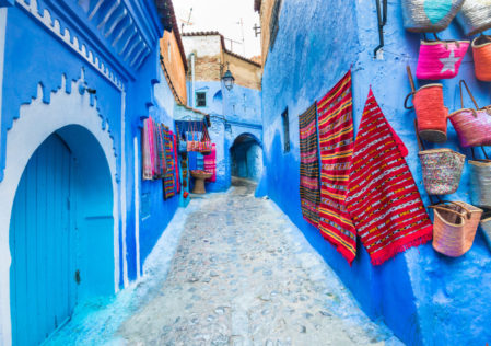 a blue-washed street in the famous Moroccan city of Chefchaouen