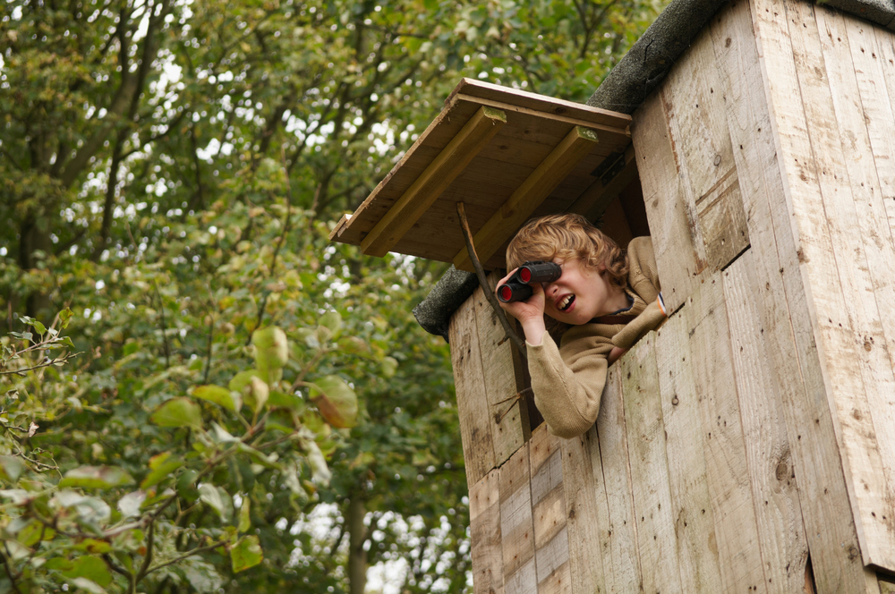 a boy looks through a treehouse window with binoculars
