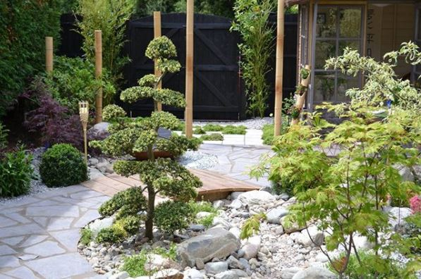a japanese style garden with miniature bridge and scaled down trees