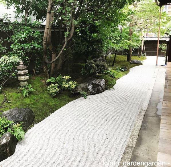 a raked zen garden in kyoto