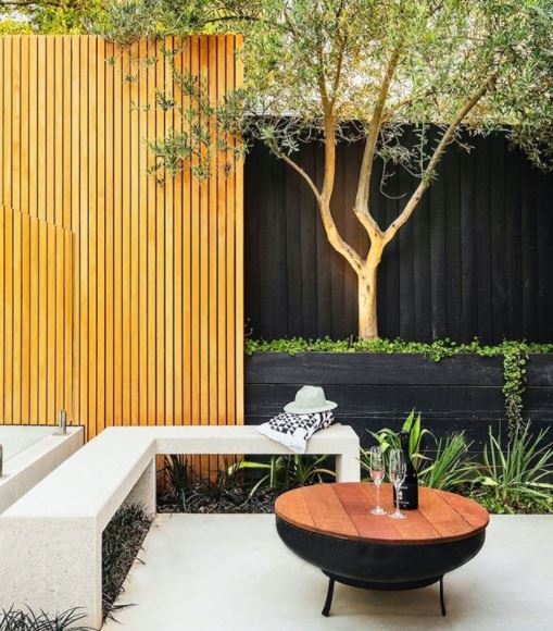 Japanese garden ideas using stone and wood in grey, tan and black