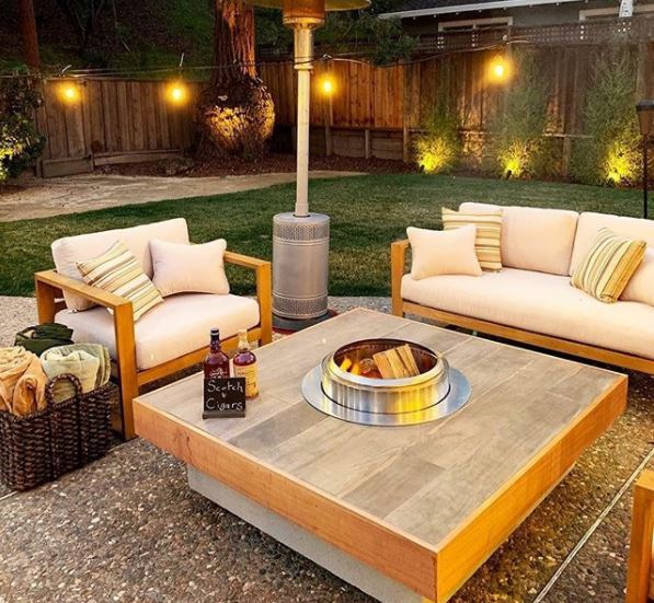 outdoor patio area with fire pit and patio heater