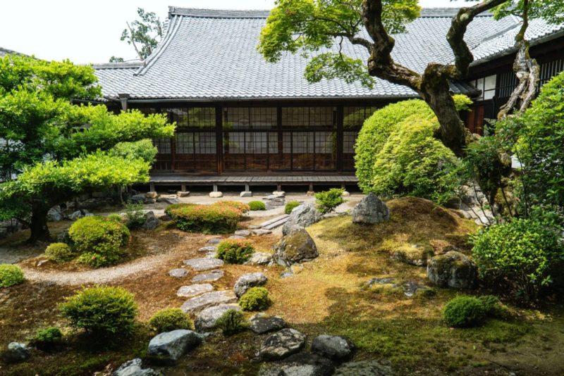 mossy gardens at the Daigo-ji temple in Kyoto, Japan