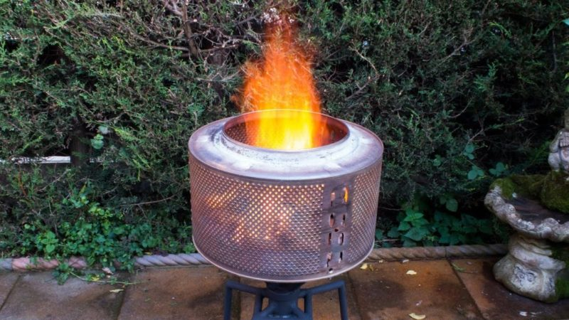garden fire pit ideas using a washing machine