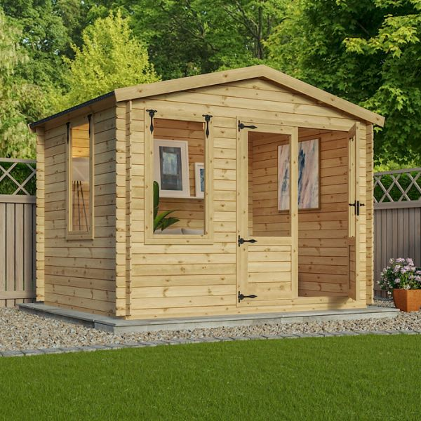 a summerhouse style shed with big windows and double doors