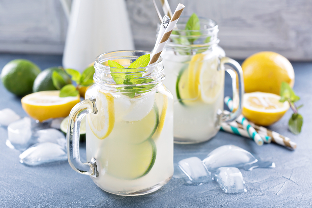 garden party ideas for drinks with slices of fresh fruit in lemonade