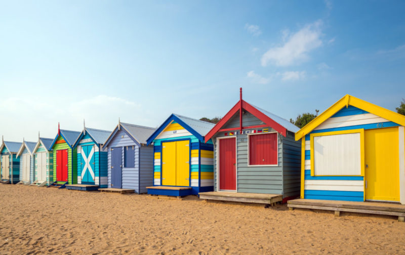 Brightly painted beach huts to inspired your garden shed ideas