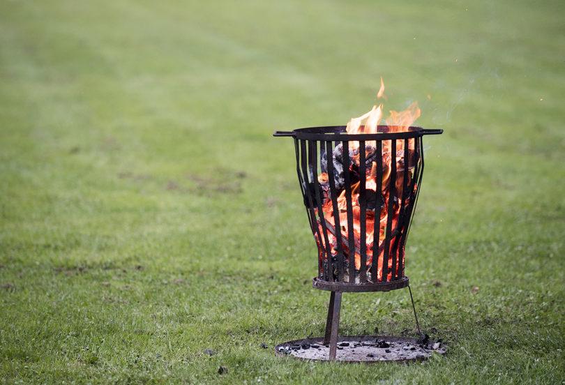 a small metal fire basket