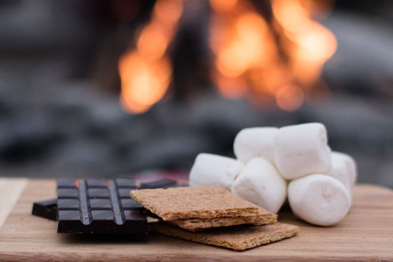chocolate, biscuits and marshmallows ready to make s'mores