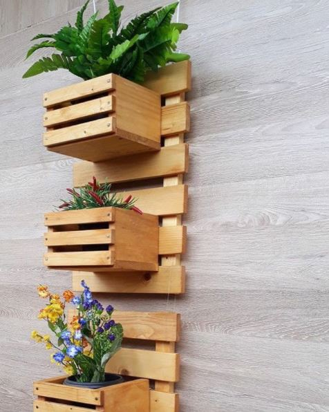 hanging planters made from reusing wooden pallets
