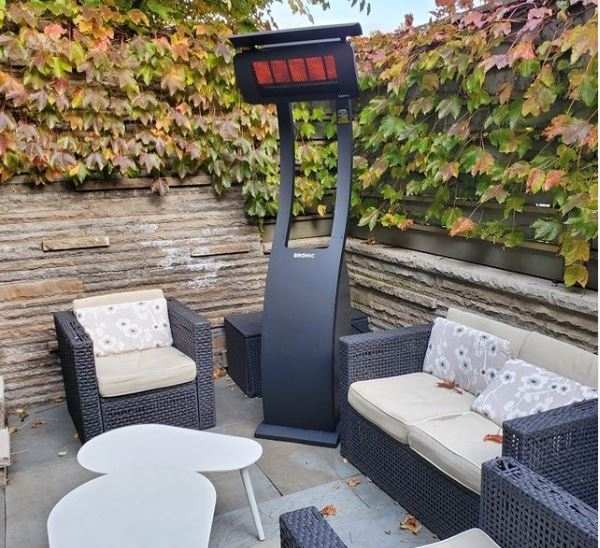 a freestanding electric patio heater