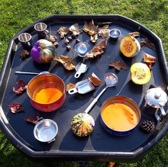 a large tray filled with containers, collections of leaves and small squash vegetables for a child to make pretend soup