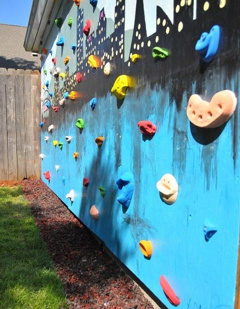 a DIY climbing wall for children