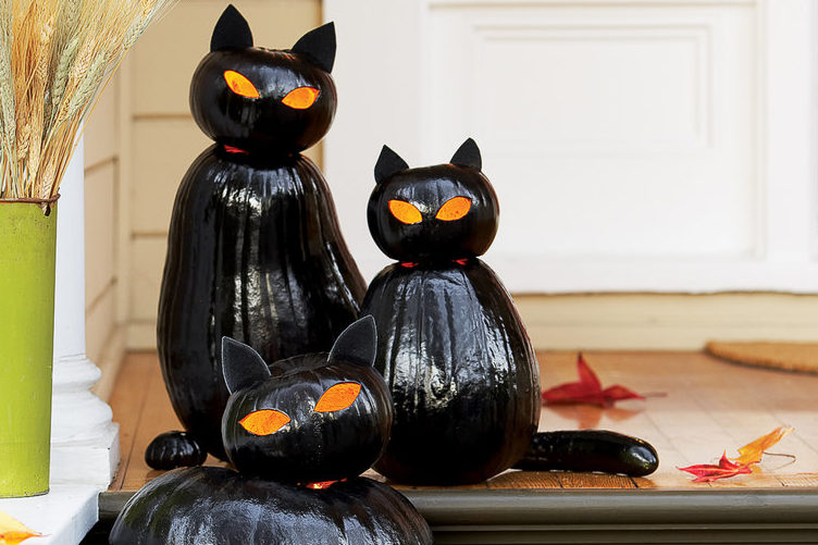 halloween garden ideas with pumpkins painted black to look like cats
