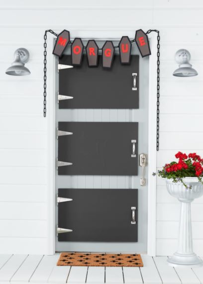 a front door with crafted panels to make it look like mortuary storage