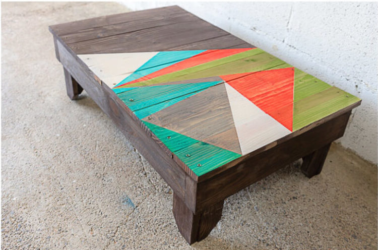 a beautiful coffee table made from pallets