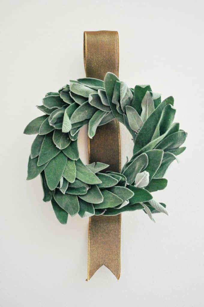 a beautiful christmas wreath made from fresh sage leaves