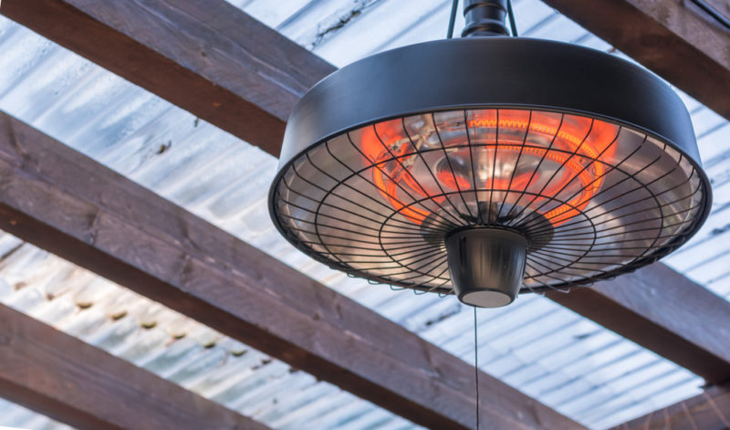an overhead electric heat lamp for a patio or gazebo
