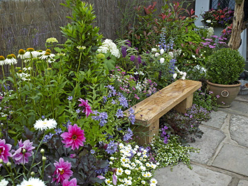 a rustic wooden bench tucked into an overflowing flowerbed