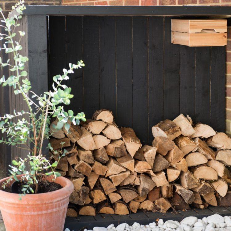 side return garden ideas featuring a narrow log store