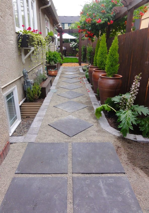 flagstones laid in a pattern with gravel and sand in between