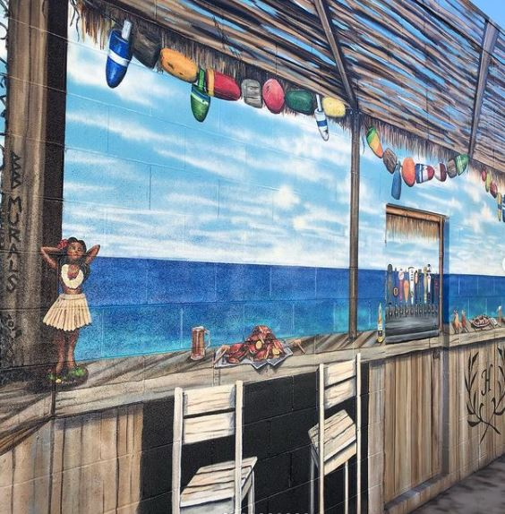 a realistic painting of a beach bar creating an illusion that the garden is much bigger