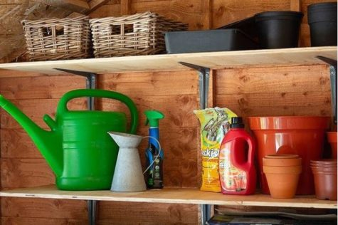 tidy shelves in a wooden shed