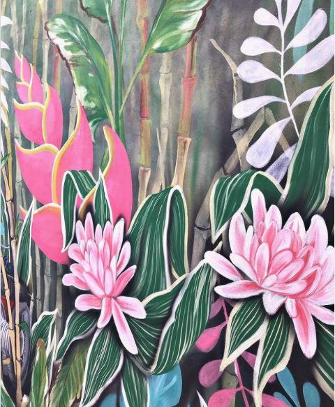 a garden mural of giant tropical plants