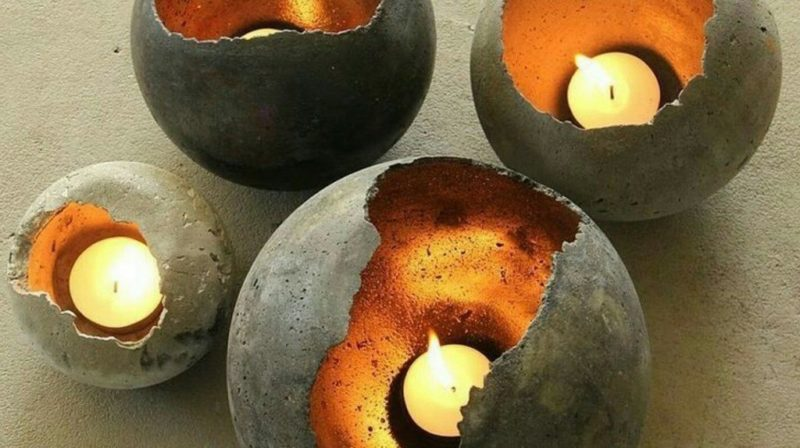 four DIY concrete tea light holders perfect for landscaping with concrete