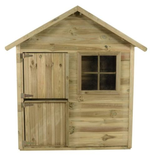 a simple wooden playhouse with a split-door like a stable